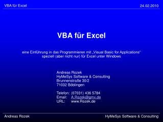 VBA f r Excel