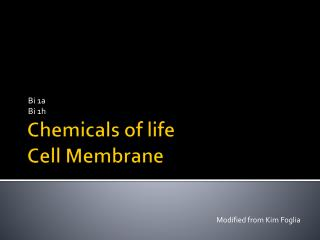 Chemicals of life Cell Membrane