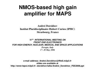 NMOS-based high gain amplifier for MAPS