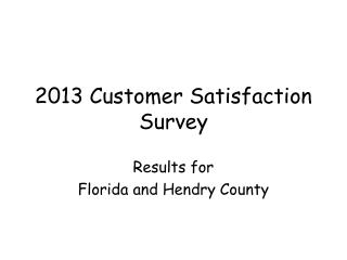 2013 Customer Satisfaction Survey