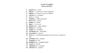 Act Two Vocabulary Romeo and Juliet afeard  (adj.) – afraid