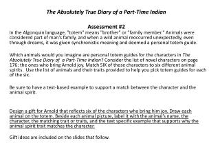 The Absolutely True Diary of a Part-Time Indian Assessment #2