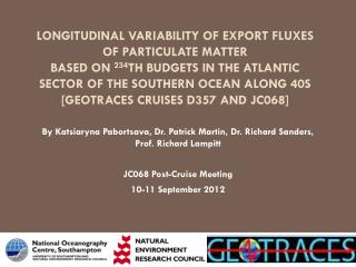 By Katsiaryna Pabortsava, Dr. Patrick Martin, Dr. Richard Sanders, Prof. Richard Lampitt