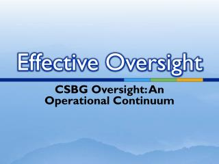 Effective Oversight