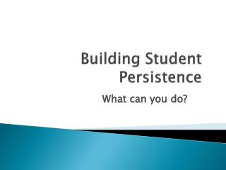 Building Student Persistence