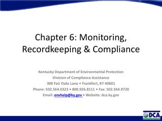 Chapter 6: Monitoring, Recordkeeping & Compliance