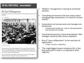 """Modern"" management is nearing its existential moment ."