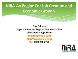 NiRA-An Engine For Job Creation and Economic Growth
