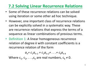 7.2 Solving Linear Recurrence Relations