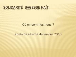 Solidarité  Sagesse Haïti