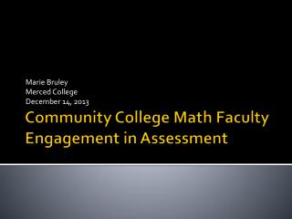 Community College Math Faculty Engagement in Assessment