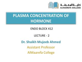 PLASMA CONCENTRATION OF HORMONE