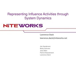 Representing Influence Activities through System Dynamics