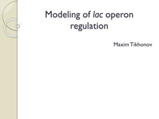 Modeling  of  lac  operon regulation