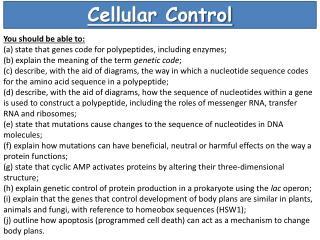 Cellular Control