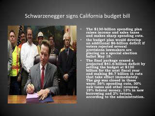 Schwarzenegger  signs California budget bill