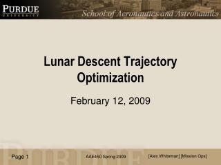 Lunar Descent Trajectory Optimization