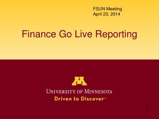 Finance Go Live Reporting