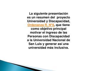 Proyecto Universidad y discapacidad U.N.s.l