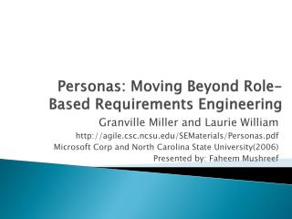 Personas: Moving Beyond Role-Based Requirements Engineering