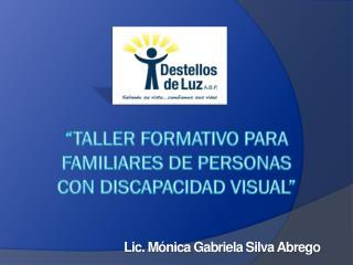 """""""TALLER FORMATIVO PARA FAMILIARES DE PERSONAS CON DISCAPACIDAD VISUAL"""""""