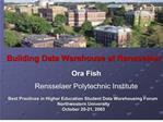 Building Data Warehouse at Rensselaer