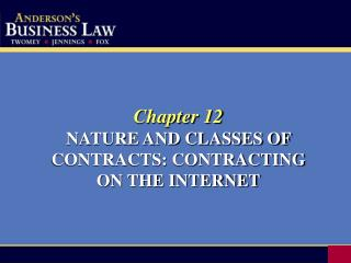 Chapter 12 NATURE AND CLASSES OF CONTRACTS: CONTRACTING  ON THE INTERNET