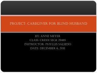 Project: Caregiver for blind husband