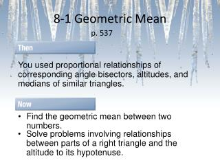 8-1 Geometric Mean