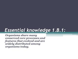 Essential knowledge 1.B.1: