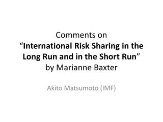 Akito Matsumoto (IMF)