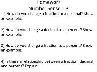 Homework Number Sense 1.3