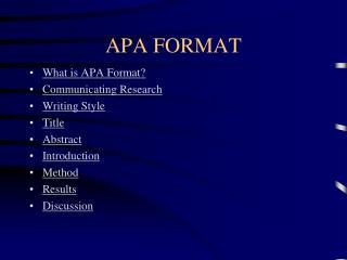 APA FORMAT