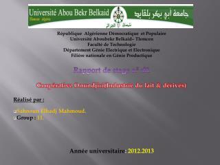 République  Algérienne Démocratique  et Populaire Université Aboubekr Belkaid– Tlemcen
