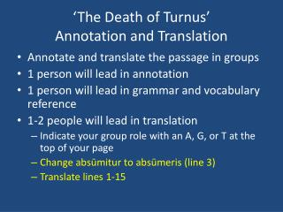 'The Death of  Turnus '  Annotation and Translation