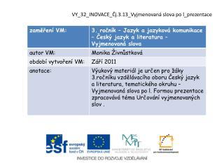 VY_32_INOVACE_Čj.3.13_Vyjmenovaná slova po  l_prezentace
