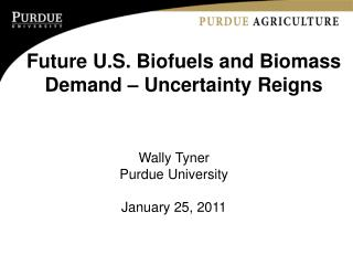 Future U.S. Biofuels and Biomass Demand – Uncertainty Reigns