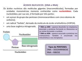 ÁCIDOS NUCLEICOS  (DNA e RNA)