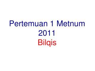 Pertemuan  1  Metnum 2011 Bilqis