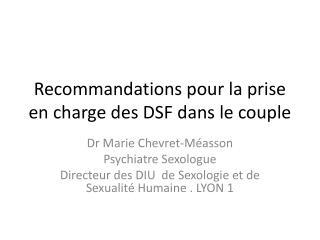 Recommandations pour la prise en charge des DSF dans le couple