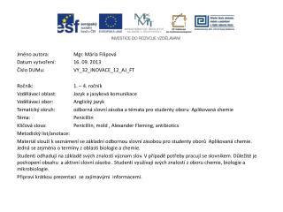Jméno autora: Mgr. Mária Filipová Datum vytvoření: 1 6 .  09. 2013