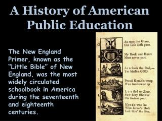 A History of American Public Education