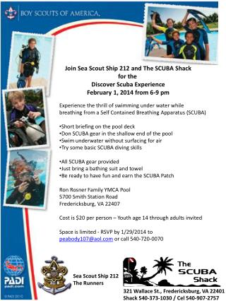 Join Sea Scout Ship 212 and The SCUBA Shack for the  Discover Scuba Experience