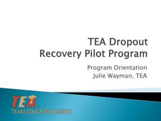 TEA Dropout  Recovery Pilot Program