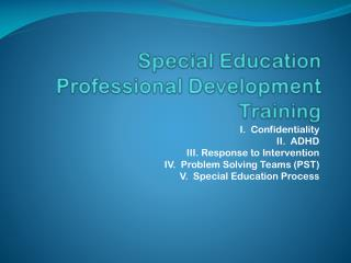 Special Education  Professional Development Training