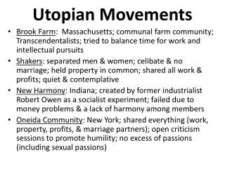 Utopian Movements
