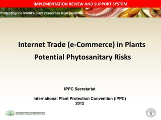 Internet Trade (e-Commerce) in Plants  Potential Phytosanitary Risks