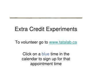 Extra Credit Experiments