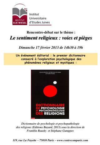 Rencontre-débat  sur le thème:  Le  sentiment religieux: voies et pièges