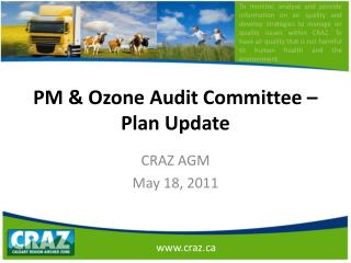 PM & Ozone Audit Committee –Plan Update